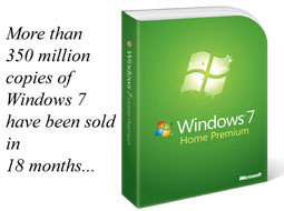 فروش 350 میلیون ویندوز 7 در 18 ماه