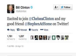 """""""بیل کلینتون"""" بالاخره وارد توئیتر شد"""