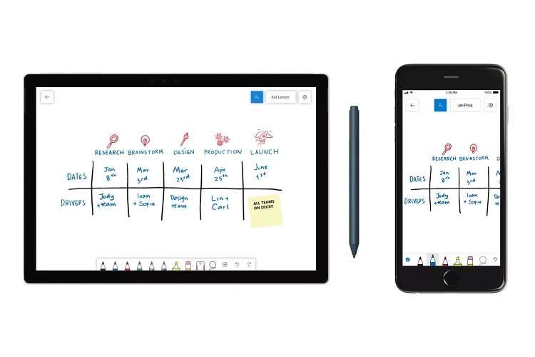 عرضه اپ همکاری Whiteboard مایکروسافت برای ویندوز 10 و iOS