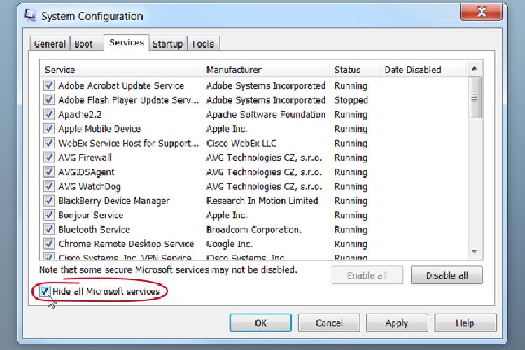 حذف برنامه ها در استارت آاپ