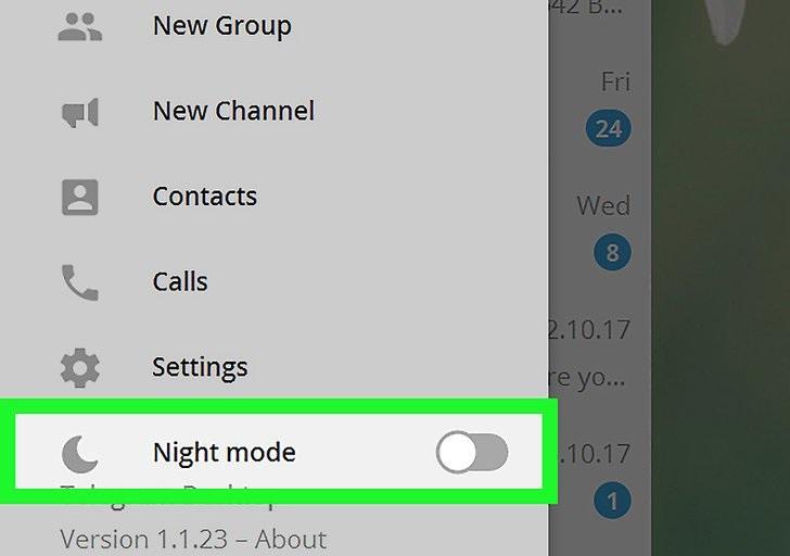 حالت شب در تلگرام